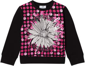 Versace Pink and Black Flower Medusa and Sequin Sweatshirt