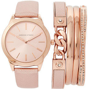 Adrienne Vittadini ADST1751 Rose Gold-Tone Watch & Bracelet Set