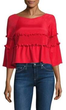 Tibi Faille Smocked Crop Top