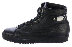 John Galliano Leather High-Top Sneakers