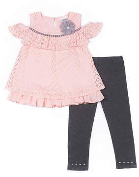 Little Lass Pink Cold Shoulder Legging Set - Preschool Girls
