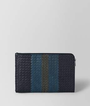 Bottega Veneta Dark Navy Intrecciato Lamb Club Leather Document Case