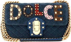 DOLCE & GABBANA Lucia Dolce Logo Velvet Bag
