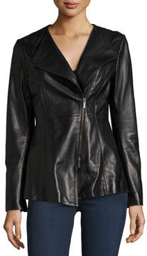 Neiman Marcus Leather Collection Leather Peplum Jacket, Black