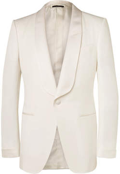 Tom Ford Cream O'connor Slim-Fit Grosgrain-Trimmed Wool And Mohair-Blend Tuxedo Jacket