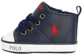 Embroidered Logo Leather Sneakers