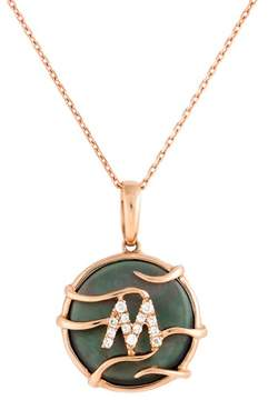 Frederic Sage 14k Pg Mini Rd Black Mop and Dia Luna Initial  m Pendant With Chain