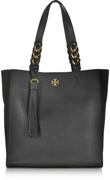Tory Burch Brooke Black Leather Tote Bag w/Suede Trims - ONE COLOR - STYLE