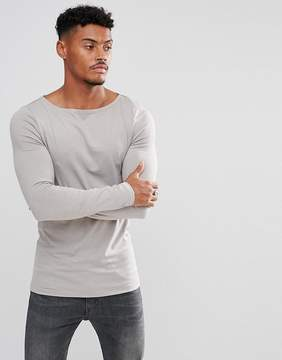Asos Extreme Muscle Fit Long Sleeve T-Shirt With Boat Neck In Gray