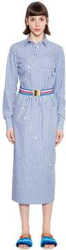 Stella Jean Twisted Striped Cotton Shirt Dress