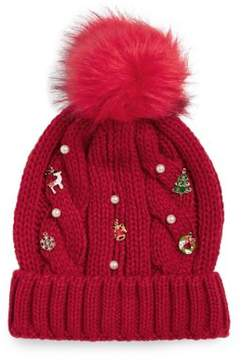 Collection 18 Cabled Faux Fur Pom-Pom Beanie