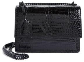 Saint Laurent Medium Sunset Croc Embossed Leather Shoulder Bag - Black - BLACK - STYLE
