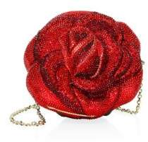 Judith Leiber Couture American Beauty Beaded Crystal Rose Clutch