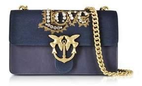 Pinko Women's Blue Denim Shoulder Bag.
