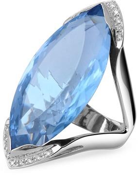 Forzieri Blue Topaz and Diamond White Gold Fashion Ring