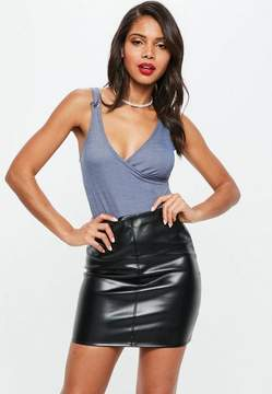Missguided Blue Wrap Denim Look Bodysuit