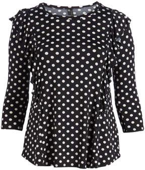 Celeste Black Polka Dot Ruffle-Accent Three-Quarter Sleeve Tunic - Plus