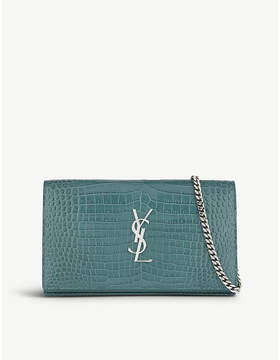 Saint Laurent Croc-embossed leather clutch bag - WATER GREEN - STYLE