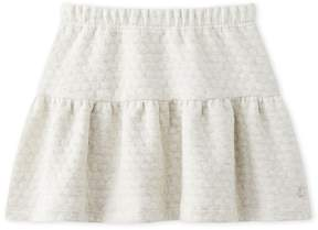 Petit Bateau Girls quilted double knit ruffled skirt