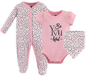 Hudson Baby Pink Floral 'Beyoutiful' Bodysuit Set - Infant