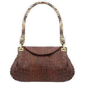 Fontanelli Brown Croco-embossed Leather Flap Bag w/Python Trim