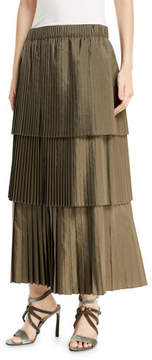 Brunello Cucinelli Tiered Pleated Long A-Line Skirt