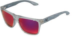 Puma Mirrored Square Plastic Active Sunglasses, Gray