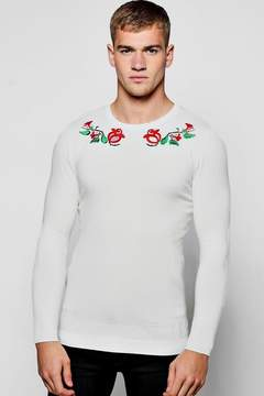 boohoo Long Sleeve Rose Embroidered Knitted Jumper
