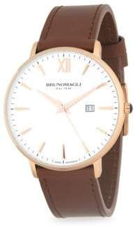 Bruno Magli Stainless Steel and Gold Ion Plated Leather Strap Watch