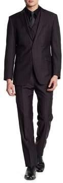 English Laundry Notch Lapel Plaid Print Trim Fit 3-Piece Suit