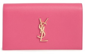 Saint Laurent 'Monogram' Leather Clutch - Pink - BEIGE - STYLE
