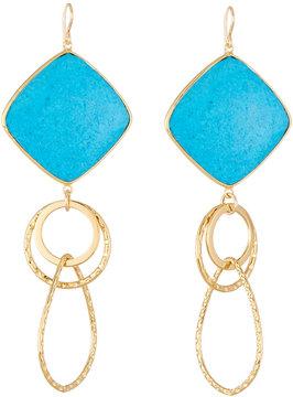 Devon Leigh Large Turquoise Bezel Link Drop Earrings
