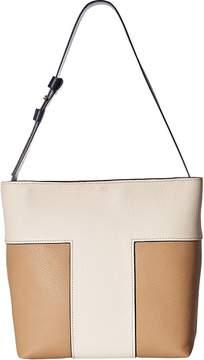 Tory Burch Block-T Pebbled Bi-Color Hobo Hobo Handbags - NEW IVORY/SAVANNAH - STYLE