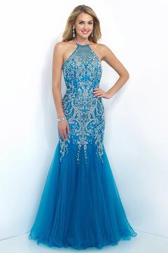 Blush Lingerie Glittering Embellished Halter Long Gown 7009