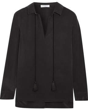 Equipment Bristol Tasseled Washed-silk Blouse - Black