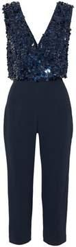 Cushnie et Ochs Cropped Sequined Tulle-Paneled Crepe Jumpsuit