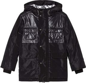 MSGM Black Logo Puffer Parka Coat