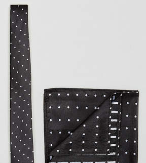 New Look White Spot Tie And Pocket Square In Black