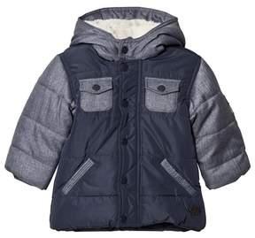 Absorba Blue Denim and Nylon Padded Coat with Fleece Lining