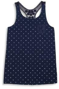 Splendid Girls Star Print Crochet Tank Top