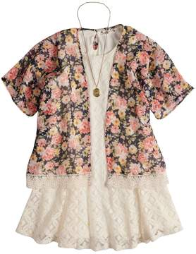 Knitworks Girls 7-16 & Plus Size Floral Kimono & Lace Dress with Necklace