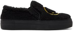 Joshua Sanders Black Fuzzy Smile Sneakers