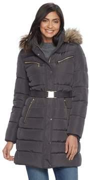 Apt. 9 Women's Hooded Faux-Fur Trim Puffer Jacket