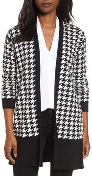 Chaus Long Sleeve Houndstooth Cardigan