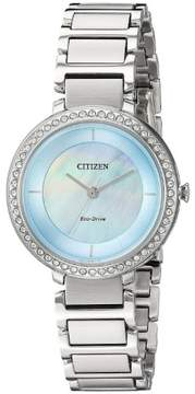 Citizen Silhouette Crystal Blue Mother Of Pearl Dial Ladies Watch EM0480-52N