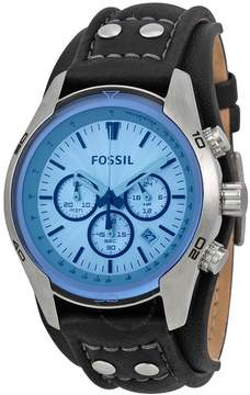 Fossil Blue Glass Chronograph Black Leather Strap Men's Watch