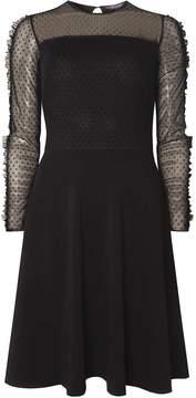 Dorothy Perkins **Tall Black Mesh Ruffle Skater Dress