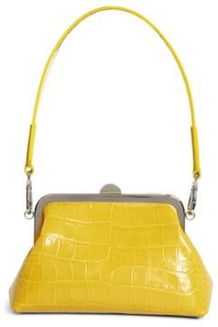 Marques'Almeida Croc Embossed Leather Handbag - Yellow