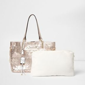 River Island Womens Rose gold metallic laser cut beach bag
