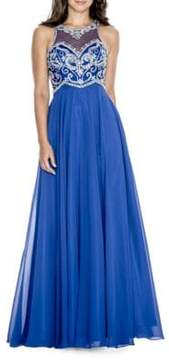 Decode 1.8 Bead-Embellished Flowy Gown